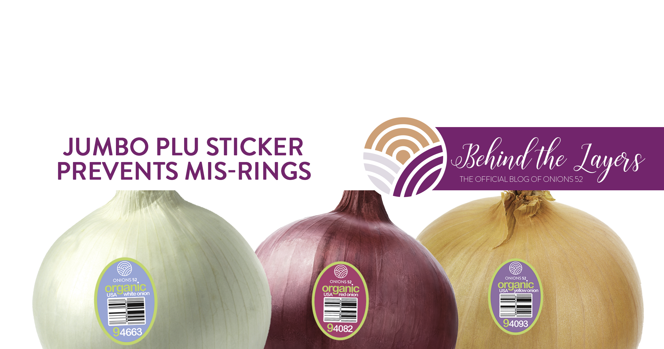 Onions 52 Jumbo PLU Sticker Prevents Mis-Rings at Register